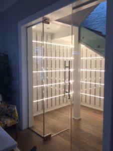 contemporary custom wine cellar